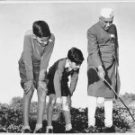 Jawaharlal Nehru during an informal botany lcass with his grandsons, Rajiv and Sanjay Ghandi Homai Vyarawalla 1950, silver gelatine print