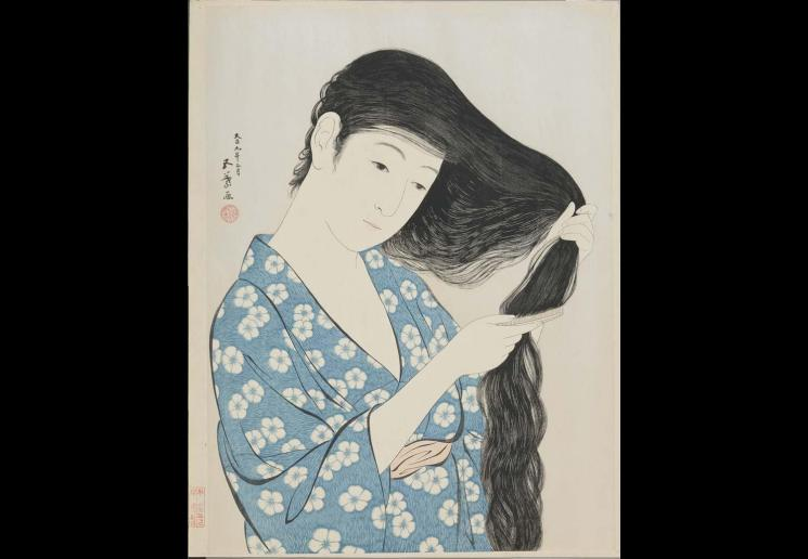 Woman Combing Her Hair (Kami sukeru onna), by Hashiguchi Goyo (1880–1921), March 1920, colour woodblock print. Museum Purchase, 1930