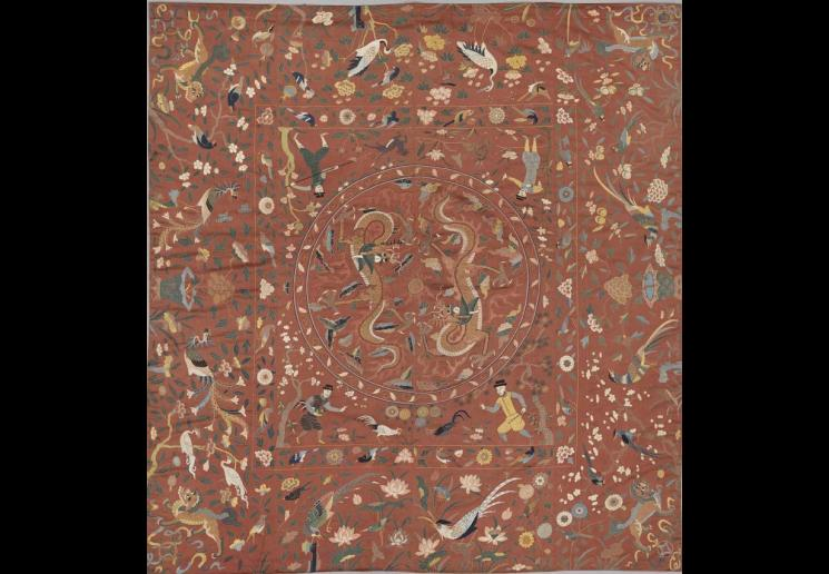 Coverlet, 16th cenury, China, silk, gold-wrapped silk, 84 x 79 in. Images © The Metropolitan Museum of Art