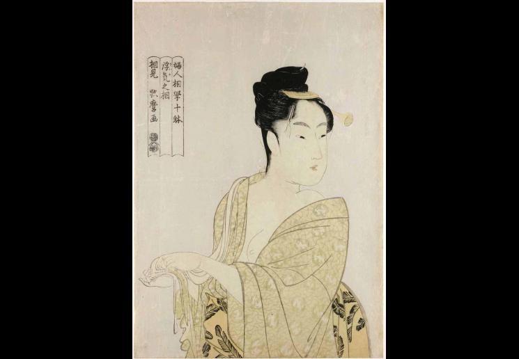 Kitagawa Utamaro, Fancy free type (Uwaki no so), from the series Ten Types in the Physiognomic Study of Women (Fujin sogaku juttai), circa 1792-3, colour woodblock print with white mica ground. Copyright of The Trustees of the British Museum ©