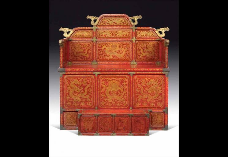Royal Throne, 1800-1900, Korea, Joseon dynasty (1392-1910)Lacquer and gold on wood, metal. 39 3/8 x 53 1/8 x 24 inches. National Palace Museum of Korea. Photo courtesy of National Museum of Korea.