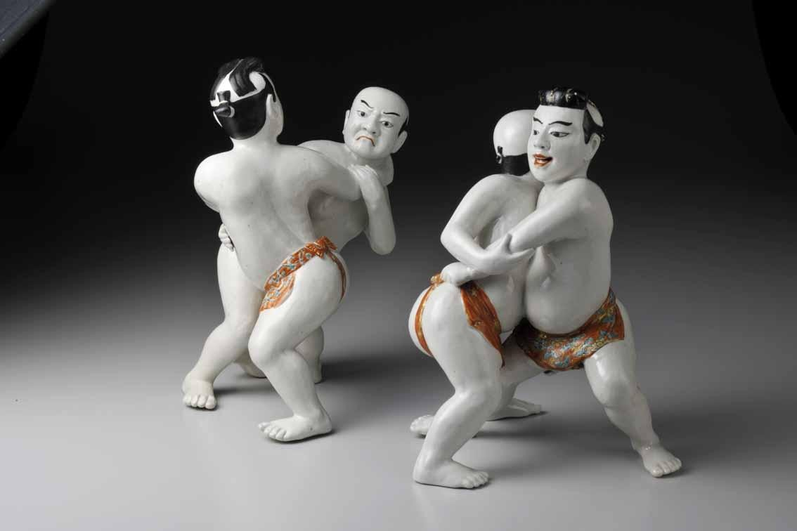 Figurines of sumo wrestlers, porcelain with decoration in overglaze polychrome enamels, Arita ware, Edo period, 1680s-1710s, The Museum of Oriental Ceramics, Osaka