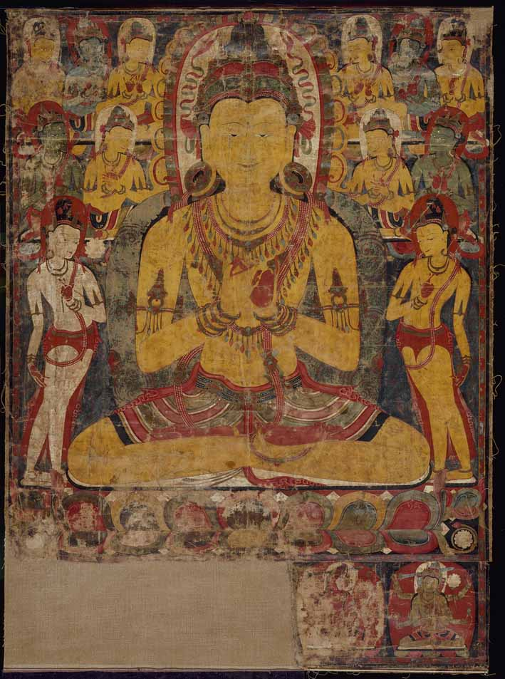 The cosmic Buddha Vairochana, thangka, circa 1100-1200, Tsang, Tibet, colours on cotton, 39 1/2 x W. 28 7/8 inches. Acquisition made possible by the Avery Brundage estate, Sharon Bacon, Mona J. Bolcom, Dr. Edward P. Gerber, Jane R. Lurie, Margaret Polak, Therese and Richard Schoofs, Dr. and Mrs William Wedemeyer, and anonymous friends of the Asian Art Museum 1992 © Asian Art Museum, San Francisco.