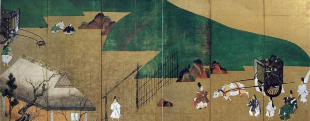One of a pair of screen paintings illustrating scenes from The Tale of Genji by Tawaraya Sotatsu, 17th century, National Treasure, Seikadō Bunko, Tokyo
