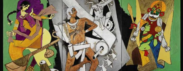 Traditional Indian Festivals (2008-2011) by MF Husain. Courtesy of Usha Mittal, Victoria & Albert Museum, London