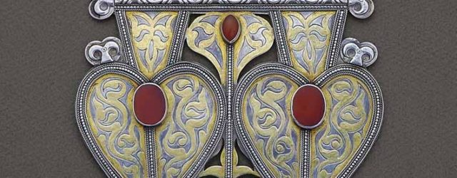 Back ornament from Central Asia (Turkmen) gilded silver, cornelian, early 20th century, length 22 cm, width 15 cm