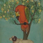 A Parrot Perched on a Mango Tree, a Ram Tethered Below, Golconda, circa 1630–70, ink, opaque watercolour, and gold on paper, 23.9 . 14.1 cm, Jagdish and Kamla Mittal Museum of Indian Art, Hyderabad