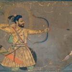Sultan 'Ali 'Adil Shah II Slays a Tiger, attributed to the Bombay Painter (probably Abdul Hamid Naqqash), Bijapur, circa 1660, ink, opaque watercolour, gold, and probably lapis-lazuli pigment on paper, 21.5 x 31.5 cm, The Ashmolean Museum, Oxford. Lent by Howard Hodgkin.