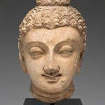 Head of Buddha with a prominent topknot, ancient Gandhara, present-day Pakistan, 4th/5th century, stucco with traces of colour, anonymous gift, Santa Barbara Museum of Art