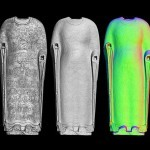 3D scan of Cosmic Buddha highlighting hot spots and zones. A laser passing over the surface of an object produces a digital scan made of millions of measurements points. This data can be manipulated in a variety of ways to reveal new information and advance research. Images courtesy Smithsonian's Digitalization Program Office