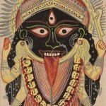 Goddess Kali, Manifestation of Devi (Great Goddess), India, West Bengal, Kolkata (Calcutta), late 19th century, colour and silver on paper, gift of Pratapaditya and Chitra Pal, Santa Barbara Museum of Art