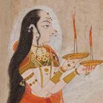 Saint Mirabai, a 16th-century Hindi poetess and devotee of Krishna, painting by Pemji of Chittor, India, Rajasthan, Mewar, dated 1838, colour and gold on paper, gift of Pratapaditya and Chitra Pal, Santa Barbara Museum of Art
