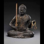 Kaikei (active ca. 1183–1223), Fudo Myoo, Kamakura period, early 13th century, lacquered, polychromed, and gilded Japanese cypress (hinoki) with cut gold leaf (kirikane) and inlaid crystal eyes, 54.6 x 42.5 x 38.1 cm. The Metropolitan Museum of Art: Mary Griggs Burke Collection, Gift of the Mary and Jackson Burke Foundation, 2015 Image copyright © The Metropolitan Museum of Art