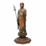 Zen'en (1197–1258) Jizo Bosatsu, Kamakura period, circa 1225–26, Japanese cypress (hinoki) with cut gold leaf and traces of pigment, inlaid crystal eyes, and bronze staff with attachments, 57.8 x 24.1 x 24.1 cm, Asia Society, New York: Mr. and Mrs. John D. Rockefeller 3rd Collection, 1979. Photo by Synthescape, courtesy of Asia Society