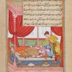 The King checks on his wife, double-sided leaf from the Chester Beatty folio of the Tutinama Manscript, anonymous, colour and gold on paper, folio 25.5 x 16.5 cm, pixruew 17.1 x 12.5, early Akbar period, circa 1580, Museum Rietberg, Photo: Rainer Wolfsberger