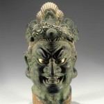 Head of a Guardian King, Kamakura period, 13th century, polychromed Japanese cypress (hinoki) with lacquer on cloth, inlaid rock crystal eyes, and filigree metal crown, 56 x 26 x 35.5 cm, Brooklyn Museum, Gift of Mr. and Mrs. Alastair B. Martin, the Guennol Collection. Courtesy of Brooklyn Museum