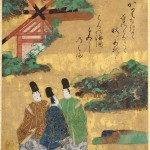 The Beach at Sumiyoshi, Tales of Ise, episode 68, Japan, 1600-40, poetry sheet mounted as hanging scroll, ink, colours, and gold on paper, 24.45 x 20.9 cm (image); 40.6 . 33.2 cm (overall) © The Cleveland Museum of Art, John L. Severance Fund, 1951