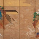 Right Screen: Waves at Matsushima by Tawaraya Sotatsu (active circa 1600-40), Japan, Edo period, early 1600s, pair of six-panel folding screens, ink, colour, gold, and silver on paper, 166 x 369.9 cm (each, overall). Gift of Charles Lang Freer, Freer Gallery of Art