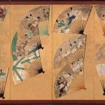 Right Screen: Painted Fans Mounted in a Screen by Tawaraya Sotatsu and Toshichiro, Japan, Edo period, early 1600s, pair of eight-panel folding screens, ink, colours, and gold on paper, 111.5 x 376 cm (each, image), 124 x 400 cm (each, overall), Sannomaru Shozokan, Museum of the Imperial Collections, Tokyo