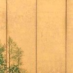 Left Screen: Trees, Master of I'nen seal, Sotatsu school, Japan, mid-1600s, pair of six-panel folding screens, ink, colour and gold on paper, 154 x 357.8 cm (each), Freer Gallery of Art