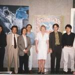 ShanghArt Gallery at Portman Hotel, circa 1997. Left to right: Zhoutiehai, Ji Wenyu, Ding Yi, Pu Jie, Lady Anne Heseltine, Lorenz Helbling, Xue Song, and Shen Fan