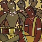 Santhal Drummers by Jamini Roy (1887-1972), circa 1936, tempera on card, 480 x 345 x 36 mm, Nirmalya & Maya Kumar collection