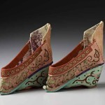 Pair of woman's shoes, silk, with silk embroidery, 19th century, China. Gift of Dale & Doug Anderson