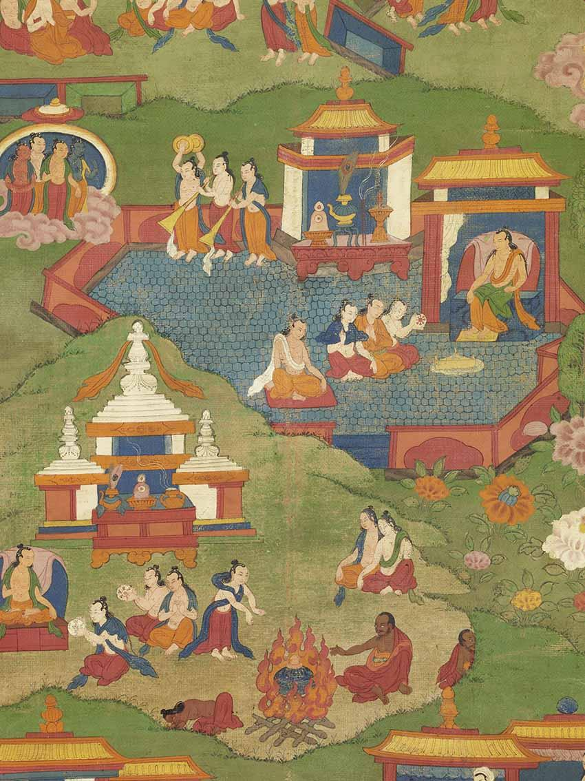Detail from one of the 10 thangkas that illustrate the life of Tonpa Shenrab, Eastern Tibet, 19th century, tempera on canvas. Gift of Mme D'Ollone, in memory of General Henri d'Ollone, 1947 © DR – MNAAG