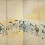 Left screen of Chinese Children at Play by Nagasawa Rosetsu (1754-1799), Edo period, 2nd half 18th century, pair of six-panel folding screens, ink and gold on paper, each 168.7 x 360 cm, Minneapolis Institute of Arts, Mary Griggs Burke Collection, Gift of the Mary and Jackson Burke Foundation