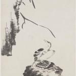 Two Geese by Bada Shanren (Zhu Da), Qing dynasty, circa 1700, hanging scroll, ink on paper, 184.1 x 90.6 cm