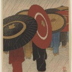 Returning Home After the Rain (1915) by Fritz Capelari (1884-1950), published by Watanabe Shozaburo, woodblock print, ink and colour on paper, gift of Ellen and Fred Wells