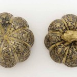 Lidded boxes in the form of a melon with grapevines and knob in the shape of a rodent, probably Xi'an, Shaanxi province, China, early Tang dynasty, late 7th/early 8th century, hammered and cast silver with chased and ring punched decoration and leaf gilding. All images: Courtesy of the Freer Gallery of Art, Washington DC