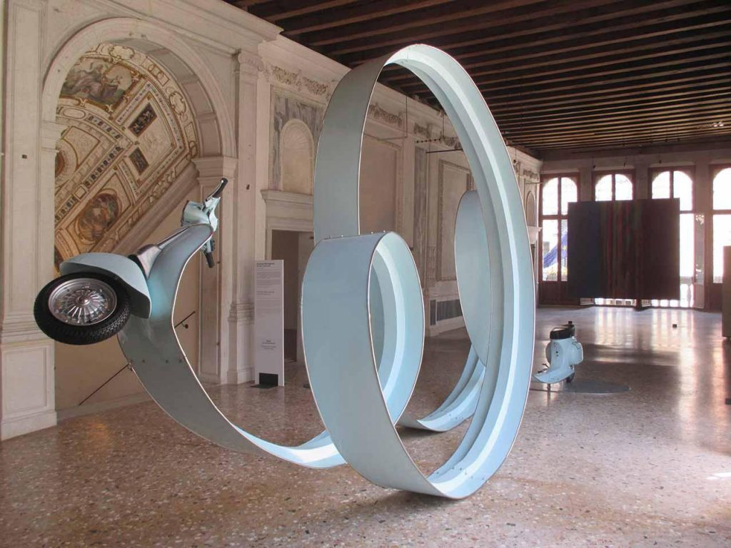 Eddie Prabandono 'After Party #3' (2013), 640 x 340 cm. Iron Plate material, Vespa Special with duck paint