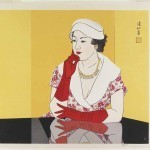 A Lady in Western Dress by Ito Shinsui (1960), published by Watanabe Shozaburo, woodblock print, ink and colour on paper, gift of Ellen and Fred Wells