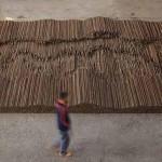 Straight (2008-12) by Ai Weiwei, steel reinforcing bars, 600 x 1200 cm, Lisson Gallery, London. Image courtesy Ai Weiwei © Ai Weiwei