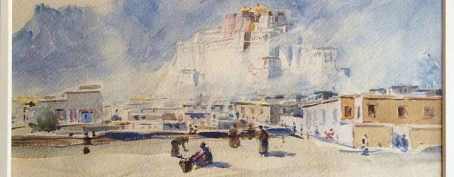 Lhasa Old Town and Potala by Kanwal Krishna, commissioned by Hugh Richardson.Tibet, October 13 (1939), watercolour on paper. Collection of Anthony and Marie Laure Aris