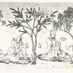 Modern rubbing of impressed-brick mural from south wall of tomb at Xishanqiao depicting the Seven Sages of the Bamboo Grove and Rong Qiqi. Southern Dynasties period (420-589), horizontal scrolls, ink on paper, 82.23× 238.12 cm. Collection of the Nanjing Museum