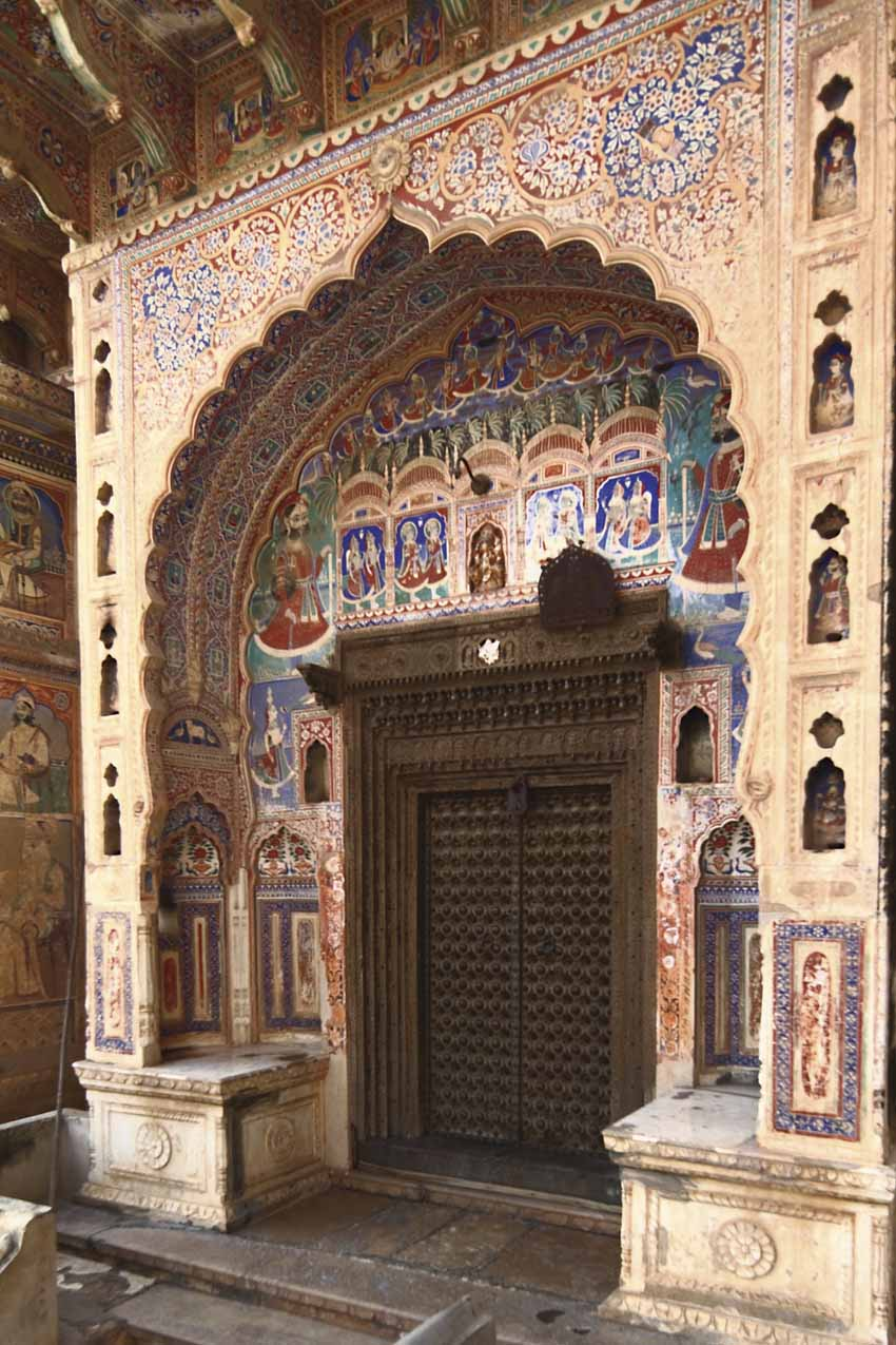 The scale and ornamentation of the entrance doorway was often a measure of the family's social and economic status as also the number of courtyards in the haveli