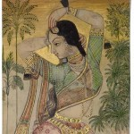 Dancing Girl, Golconda, late 17th century, ink, opaque watercolour, and gold on paper, 10.3 x 7.3 cm. Collection of Dr Daniel Vasella, Risch, Switzerland. Image © Courtesy of Sotheby's