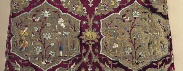 Brocaded Velvet with falconer and attendant in medallions, from a Kaftan, mid 1500s, Iran, Safavid period, silk, gilt-metal thread, brocaded velvet, pile-warp substitution; 79.40 x 66.70 cm. The Cleveland Museum o f Art, Purchase from the J H Wade Fund