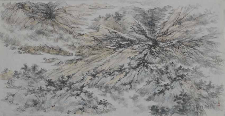 Landscape [2013.5] by Arnold Chang, 76.2 x 141 cm, ink and colour on paper. Image courtesy of the artist.
