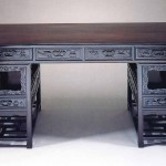 Trestle desk, zitan and huali wood, Qing dynasty, 19th century, 83 x 72 x 155.5 cm. Donated by Dr T T Tsui, Tsui Art Foundation Ltd. Courtesy of the University Museum and Art Gallery