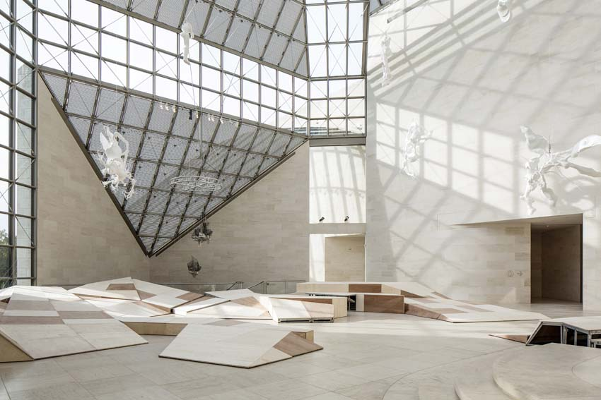 View of the Grand Hall, Mudam, Luxembourg featuring Lee Bul's Cyborg series. Photo: Eric Chenal