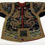 Theatrical warrior's jacket with dragons, 18th century, silk and metallic thread embroidery on silk satin. The Metropolitan Museum of Art, New York