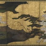 Landscape with blossoming cherries Japan, Edo period, early 17th century, six-panel folding screen; ink, colour, and gold on paper. Gift of Mrs Garnet Hulings Freer Gallery of Art, Smithsonian