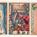 Great Victory of Japan at Port Arthur during the Sino-Japanese War, 1895, by Hasegawa Sadanobu II, (1848–1940, Japan), five-sheet, cut-out three-dimensional diorama, set of five colour woodblock prints, framed: 26 1/8 x 60 1/8 inches, Saint Louis Art Museum