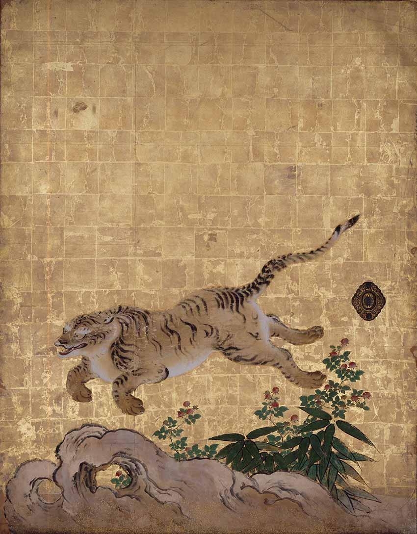 Tigers in a Bamboo Grove (detail), mid-1630s, Kano Tan'yu, Japanese, 1602-1674. Ink, colour, and gold leaf on paper, set of four-panel sliding doors, each door 72 13/16 x 55 1/2 inches. Nanzen-ji Temple, Sakyo-ku, Japan. Important Cultural Property. In rotation 3