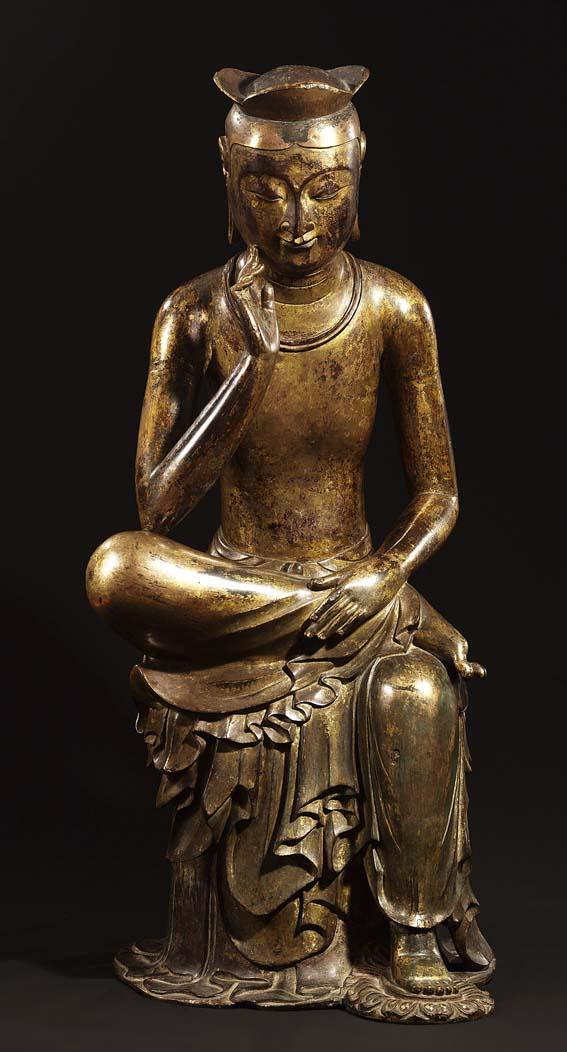Bodhisattva in pensive pose, probably Maitreya (Korean: Mireuk), Korea, Silla Kingdom (57 BC–AD 935), late 6th–early 7th century, gilt bronze, height 93.5 cm. Lent by National Museum of Korea, National Treasure 83. All Photos: © National Museum of Korea