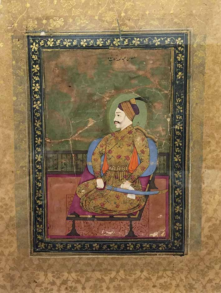 Portrait of Abdulla Qutb Shah, Bijapur, Deccan, circa 1640, opaque watercolour and gold on paper, 18 x 13 cm. Abdullah Qutb Shah (r. 1626-1672) inherited a precarious kingdom that was under Mughal attack. He had to agree to the difficult terms of an inquiyad-nama, or deed of submission, which all but transformed Golconda into a Mughal protectorate. Increased Mughal control can be seen in the art, which turned from Iranian idioms to the more naturalistic Mughal style. A similar portrait can be found in the