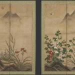Flowers and Birds in a Landscape, Genga, active early 16th century, circa 1520, ink, colours and gold on paper, Japan, Muromachi period (1333-1573), Japan. Courtesy of the Freer Gallery of Art